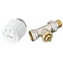 Zestaw grzejnikowy prosty RTL do regulacji pojedynczych pętli z zaworem FJVR 15 i głowicą gazową FJVR Kvs 0.73
